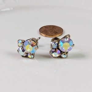 Vintage Coro Aurora Borealis Screwback Earrings
